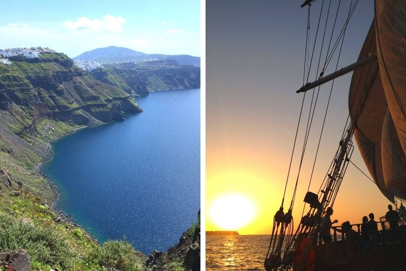 Hiking up the Caldera in Santorini and then swimming in the picturesque blue waters
