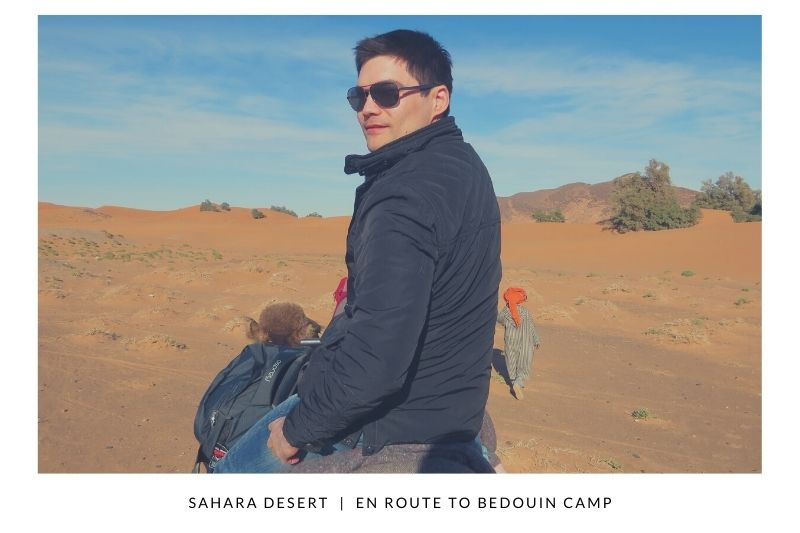 Riding camels through the Sahara Desert and staying in a Bedouin camp